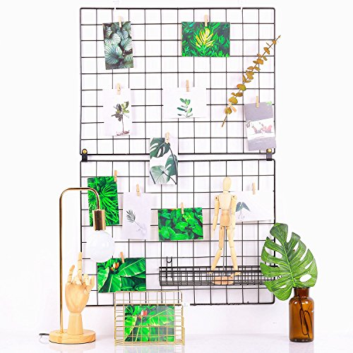 Craft Show Display - Hosal Black Metal Grid Panel, Wall Sculptures Photo Craft Display Panel,Sculptural Frames & Holders Wall Decoration & Organization,2 Pcs/Set,Size:25.6