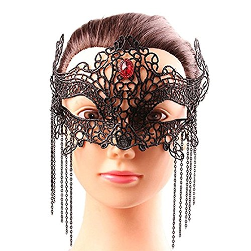 Exquisite Corpse Costume (Coerni Top Fashion Sexy Women Lace Masks with Exquisite Crystal Pendant Deco for Halloween Masquerade Ball Carnival Prom Party Accessories (C))