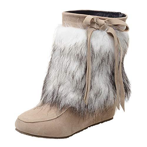 (Mysky Women Vintage Suede Plush Round Toe Wedges Shoes Ladies Pure Color Slip-On Keep Warm Snow)