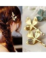 YZG ヘアピン 葉 リーフ ヘアクリップ 髪留め 髪飾り ヘアアクセサリー 2本セット