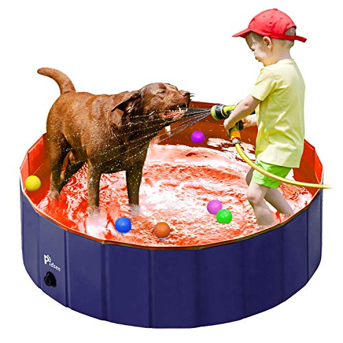 Pidsen Foldable Pet Swimming Pool Portable Dog Pool Kids Pets Dogs Cats Outdoor Bathing Tub Bathtub Water Pond Pool & Kiddie Pools (31.5inch.D x 7.87inch.H, Orange)]()