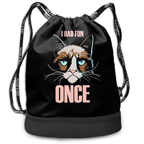 fc949d73e5e2e Gymsack Grumpy Cat I Had Fun Once Print Drawstring Bags - Simple Bundle  Pocket Backpack
