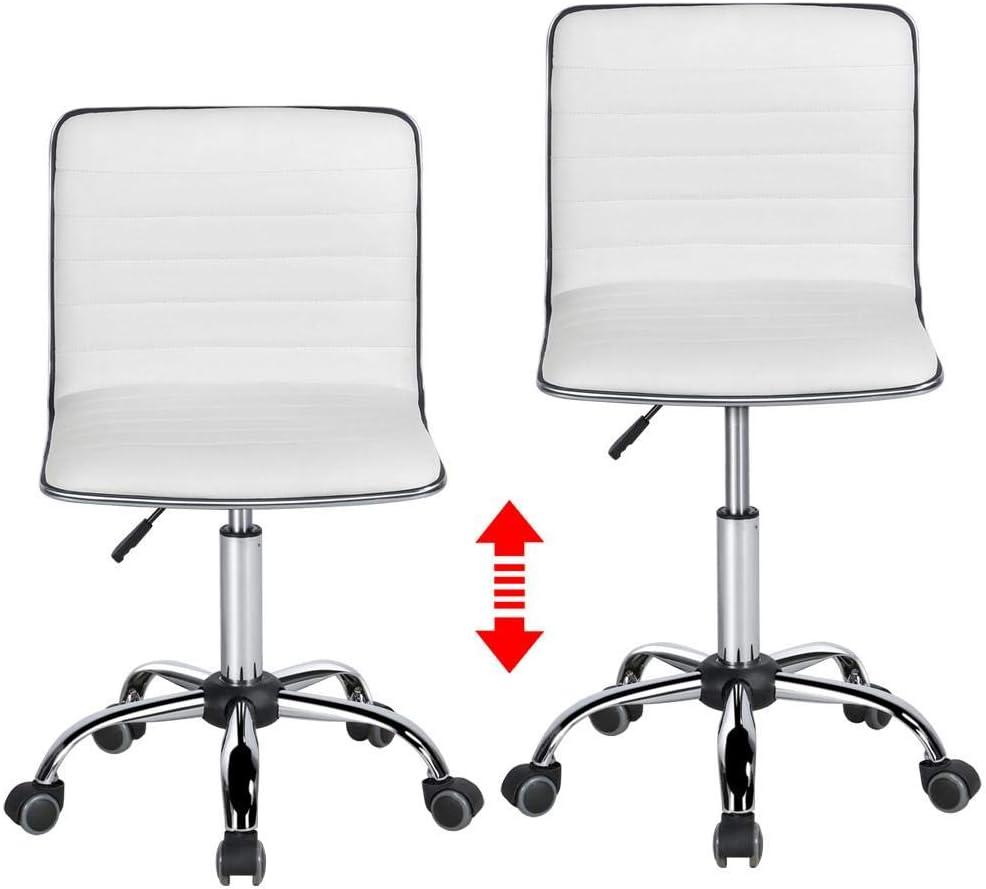 Yaheetech Chaise de Bureau Pivotante Hauteur R/églable 41,5cm /à 56,5cm Sans Accoudoir Blanche