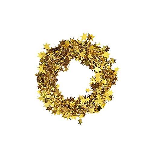 Gold Tinsel Stars Brace Star Tinsel Wire Garland for Home Wedding Birtahday Party Decorations 26 Ft x (Gold Tinsel Star)