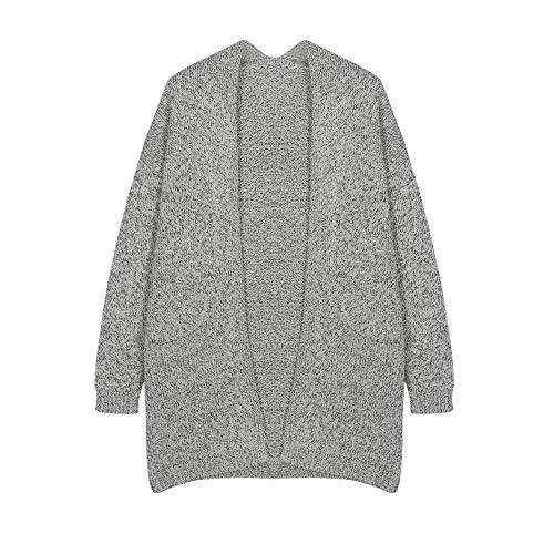 Anteriori S Mode Outwear Donna Autunno Maglie Comodo di Maglieria Baggy Elegante marca Tasche Size Morbidi Color Manica Di Moda Lunga Cardigan Grau Moda Pullover r08rg