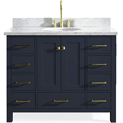 "meet 9b72a a6b52 ARIEL Cambridge 43"" Inch Midnight Blue Bathroom Vanity with Single Sink and  Carrara White Marble Countertop"