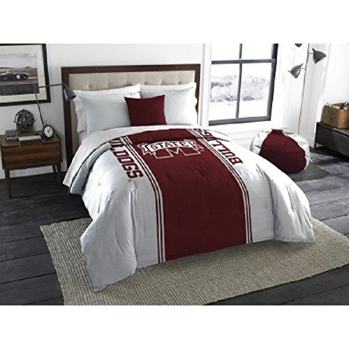 1 Piece NCAA Mississippi State Bulldogs Comforter Twin/Full, Sports Patterned Bedding, Featuring Team Logo, Fan Merchandise, Team Spirit, College Basket Ball Themed, Red White, For Unisex