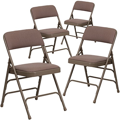 4 Pk. HERCULES Series Curved Triple Braced & Double Hinged Beige Fabric Upholstered Metal Folding Chair (Seating Chair compare prices)