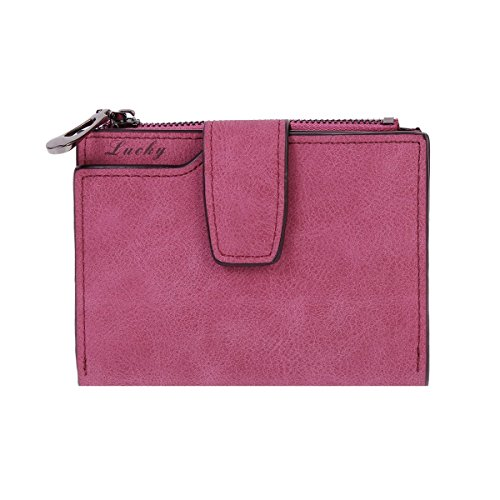 Damara Womens Medium Faux Leather Coin Purse Card Holder Wallet,Rose