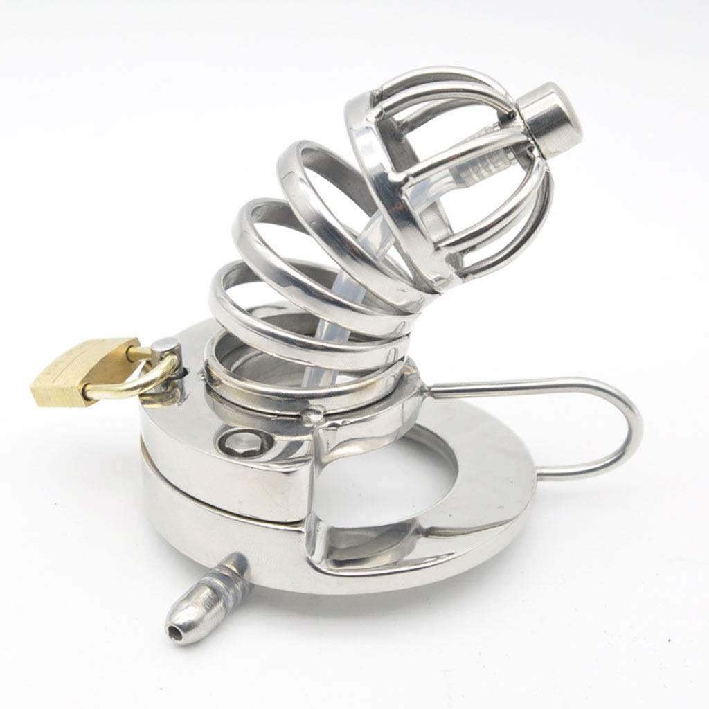 40mm CQ Cage Stainless Steel Hand Mirror Polished Open Curved Male Chastity Lock Sex Toy