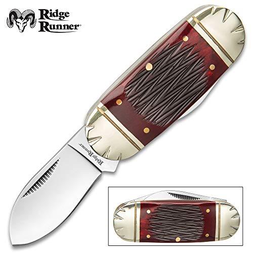Ridge Runner Red Bone Mini Elephant Toe Pocket Knife - 3Cr13 Stainless Steel Blades, Bone Handle, Nickel Silver Bolsters, Brass Pins
