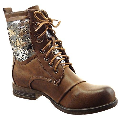 new product e1e91 9e251 ... Sopily - Zapatillas de Moda Botines botas militares A medio muslo mujer  brillantes Talón Tacón ancho ...
