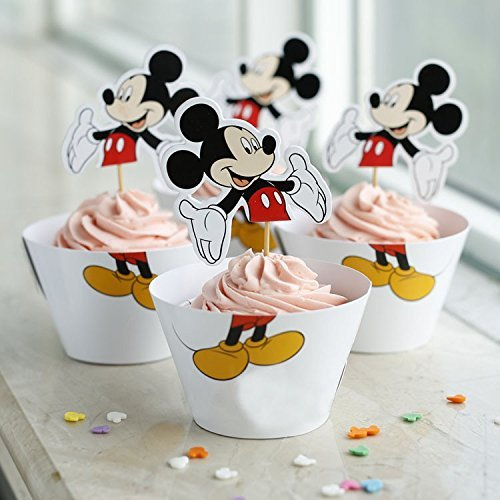 Mickey Mouse White Cupcake Toppers and Wrappers Birthday Party Kit ( 24 pcs Makes 12) -