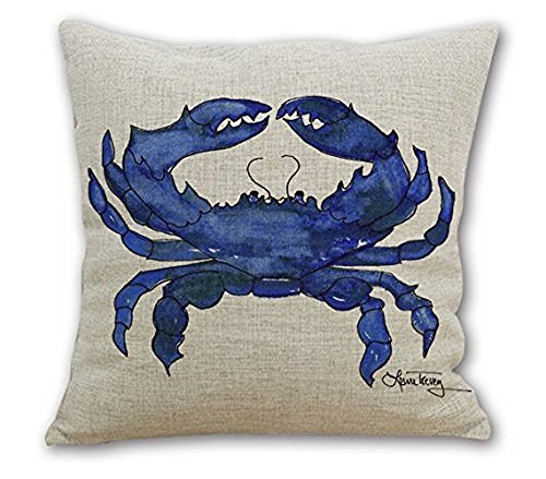 Wonder4 Square Throw Pillow Case, Watercolor Decorative Sofa Cushion Cover for Living Room Watercolor Blue Crab 18 x 18 Cotton Linen ()