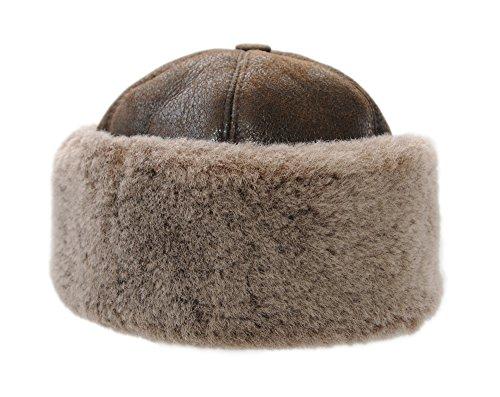 Ricardo B.H. Sheepskin Beanie Hat, Brown/Brisa for Women (XL)