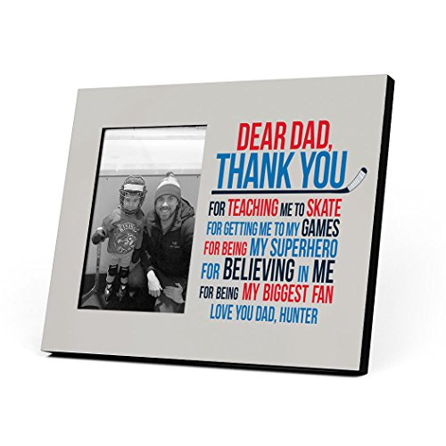 ChalkTalkSPORTS Hockey Dear Dad Personalized Picture Frame | Blue/Red ()