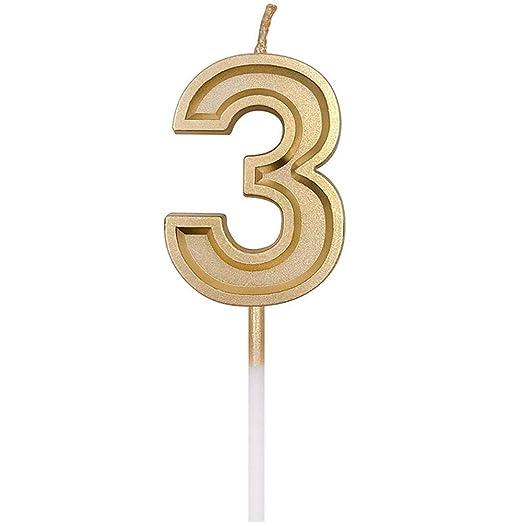 Umiwe Velas de Número de Cumpleaños, Decoración de Topper de ...