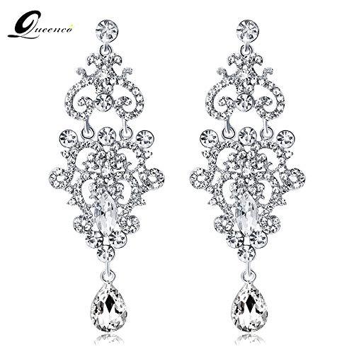 - Bridal Pendant Dangle/Earrings for Women | Vintage Teardrop Silver Crystal Long Drop Earring | Chandelier