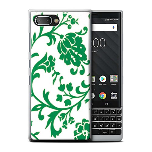 STUFF4 Phone Case/Cover for Blackberry KEY2/BBF100/Green Flowers Design/Floral Stamp Pattern (Pattern Plastic Hardback Cover)