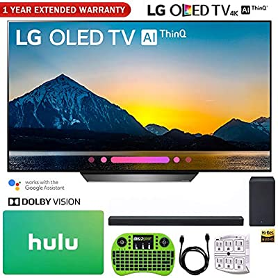 "LG OLED65B8PUA 65"" Class B8 OLED 4K HDR AI Smart TV (2018) + LG SK8Y 2.1-Channel Hi-Res Audio Soundbar with Dolby Atmos + Hulu $100 Gift Card + 1 Year Extended Warranty + More"