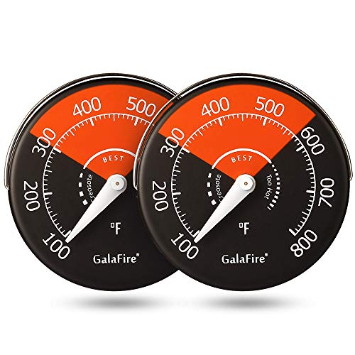 GALAFIRE 2PCS Stove Thermometer Magnetic Oven Thermometer Fireplace Accessories for Heat Powered Wood Stove Fan Avoid Overheating (Stove Cooking Wood Accessories)