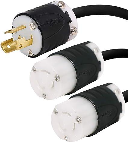 NEMA L5-30P to 2X L5-30R Y Splitter Cord Iron Box # IBX-580110 10 Foot 30A//125V 10//3 AWG
