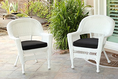 Jeco Wicker Chair with Black Cushion, Set of 2, White/W00206- (Resin Wicker Chairs)
