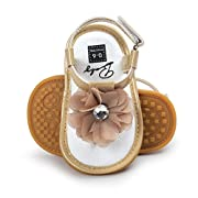 First Walker Crib Shoes, Neband Baby Infant Girls Flower Pearl Princess Sandals (6-12 Months, Khaki)