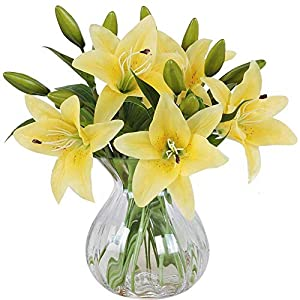 Artificial Flowers, Meiwo 5 Pcs Real Touch Latex Artificial Lillies Flowers for Wedding Bouquets / Home Decor / Party / Graves Arrangement(Yellow) 4