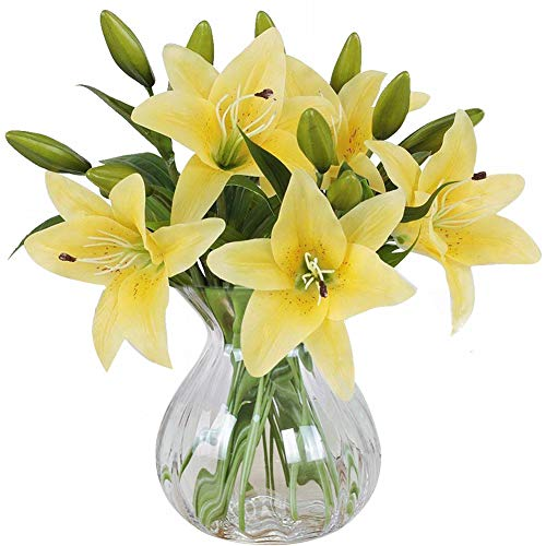 Artificial Flowers, Meiwo 5 Pcs Real Touch Latex Artificial Lillies Flowers for Wedding Bouquets / Home Decor / Party / Graves Arrangement(Yellow)