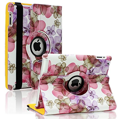 SAVEICON (TM) Leopard Rose Flower Map Pattern 360 Rotating Leather Case Smart Cover with Stand and Sleep/Wake Function for Apple iPad 4 / iPad 3, iPad 2 (iPad 4/iPad 3/iPad 2, Pattern A)