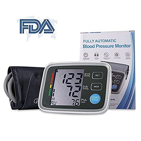SuperSWK Automatic Digital Upper Arm Blood Pressure Monitor with Irregular Heartbeat Indicator, FDA Approved, Adjustable Cuff, Easy to Read Large LCD Display, 90 Memory Recall Capacity, 2 User - Digit Finger Pulse Oximeter