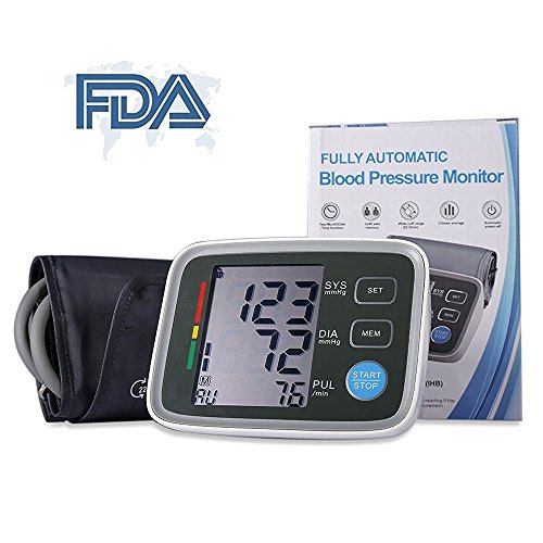 SuperSWK Automatic Digital Upper Arm Blood Pressure Monitor with Irregular Heartbeat Indicator, FDA Approved, Adjustable Cuff, Easy to Read Large LCD Display, 90 Memory Recall Capacity, 2 User Mode