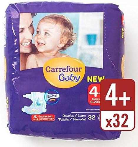 Carrefour bebé ultra seco Tamaño 4+ Pañales Carry Pack de 32 por paquete: Amazon.es: Bebé