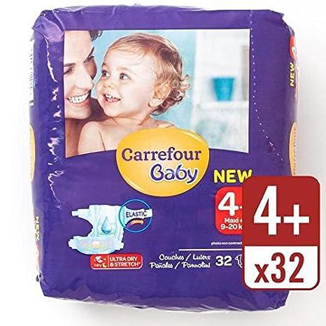 Carrefour bebé ultra seco Tamaño 4+ Pañales Carry Pack de 32 ...