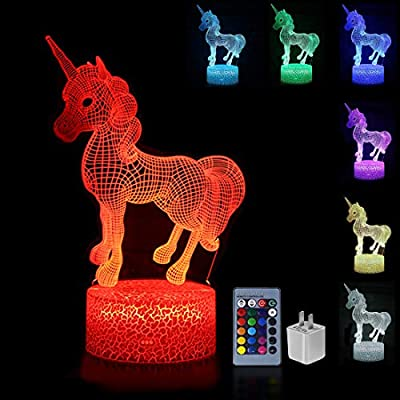 Palawell Unicorn 3D Night Light 15 Changing Color Remote Control Unicorn Kids Room Decor Lighting - with Charger