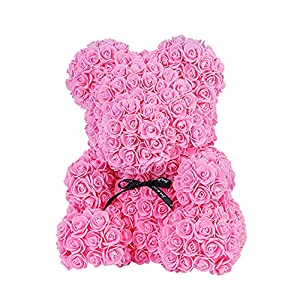 TOPmountain DIY Rose Bear Artificial Rose Flowers Bear Dolls Handmade Foam Bear Rose Set Romantic Pe Eternity Flowers Box-Milky White 89