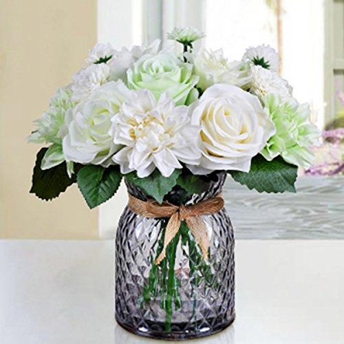 Artificial Rose Arrangement (Bringsine Bridal Wedding Bouquet Flower Arrangement Home Decorative Flowers Real Touch Silk Artificial Flowers- Rose, Daisy, Dahlia, Wedding Decoration, Flowers Bunch Hotel Party Garden Floral Decor)