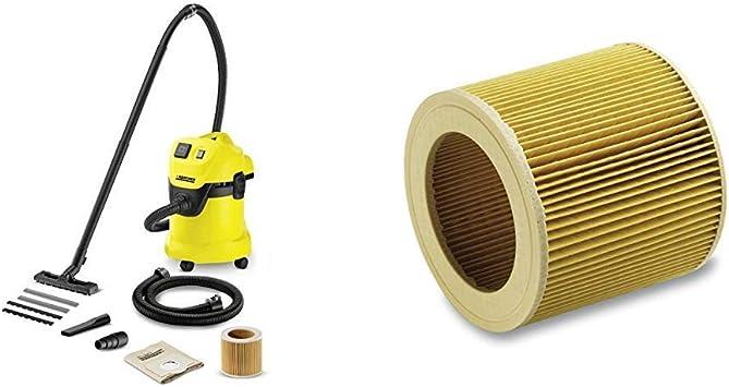 Kärcher WD 3 P - Aspirador en seco y húmedo, 1000 W, 220-240 V, 50/60 Hz + Kärcher Filtro de cartucho WD2-WD3: Amazon.es: Bricolaje y herramientas