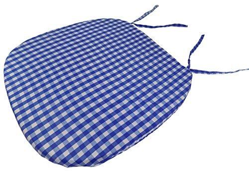 Gingham Kariert Blau Weiss 16 X 16 X 1 Sitz Pad Entsprechend Vorhange