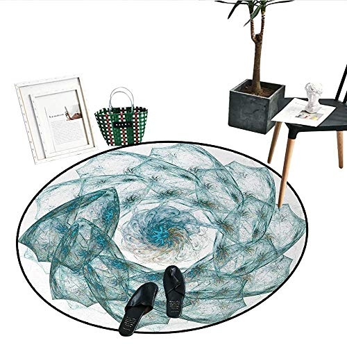 Spires Round Rugs Bedroom Flower Shaped Spiral Digital Vortex Pattern Hazy Colored Elements Artistic Image Indoor/Outdoor Round Area Rug (39