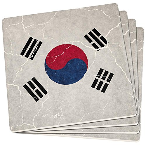 Distressed South Korean Flag Set of 4 Square Sandstone Coasters Multi Standard One - Canada Flag Coaster