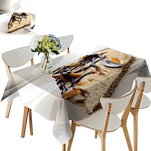 UHOO2018 Square/Rectangle Polyester Table Cloth Caramel Chocolate Cheesecake a Coffee Easy Care Spillproof,54 x107inch