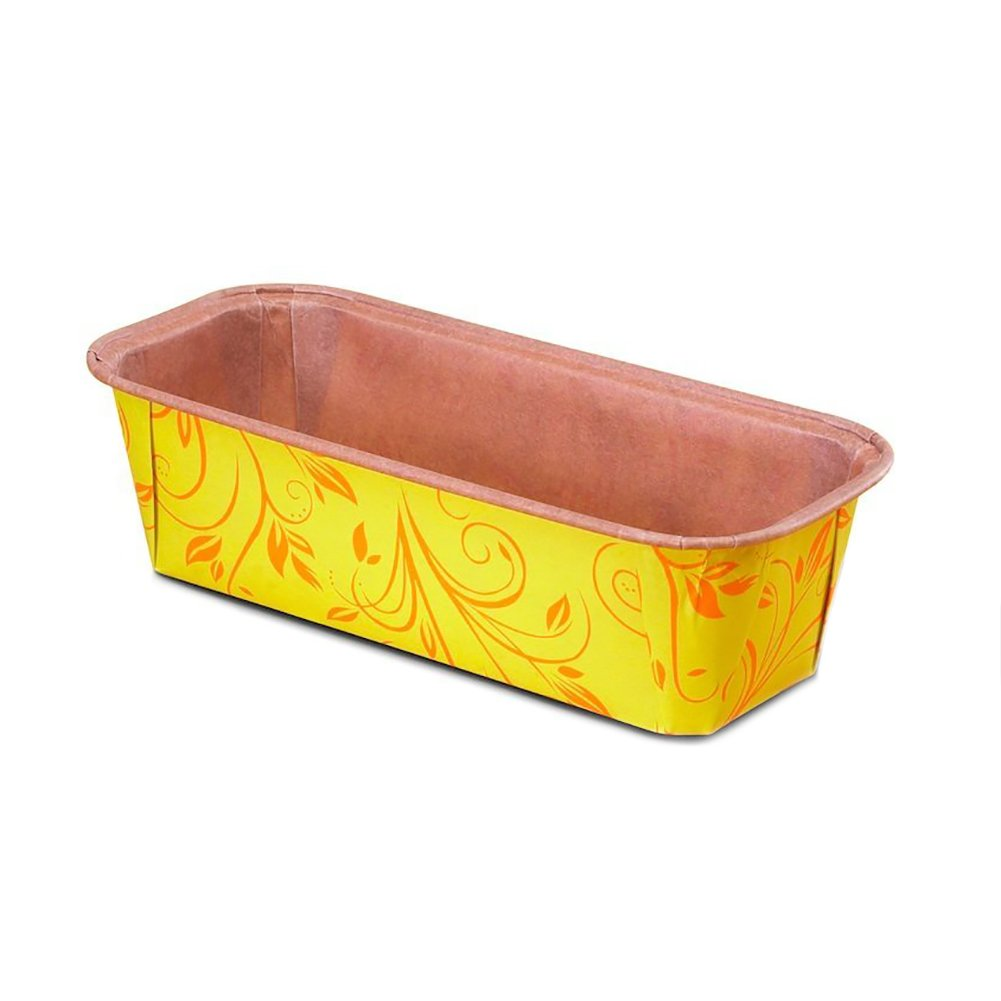 Premium Paper Baking Loaf Pan, Perfect for Chocolate Cake, Banana Bread, Yellow with Orange Print, Set of 75 - by EcoBake by Ecobake