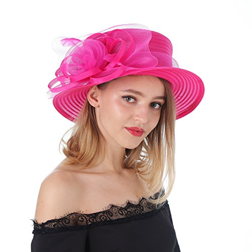 Box Hat Rose - Dantiya Ladies Breathable Kentucky Derby Hat Tea Party Church Wedding Beach Summer Hat Wide Brim Floral Organza Hat (Rose, One Size)