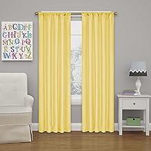 """Eclipse Kendall Blackout Curtain, 63"""", Lemon"""