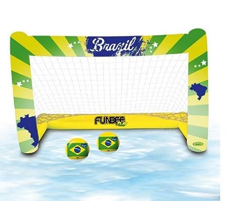 D ARPEJE Funbee - Portería hinchable + 2 balones de Brasil + ...