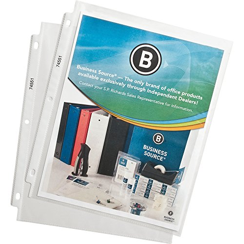 Business Source Economy Weight Top Loading Sheet Protectors - 8.5 x 11 Inches - Clear - Pack of 100 (74551)