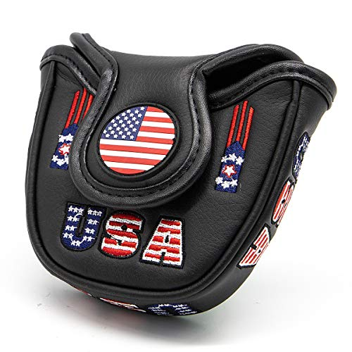 barudan golf American Flag Patrioism Black Leather USA Mallet Putter Cover Headcover Magnetic Club Protector for Odyssey 2ball Style Putters,Scotty Cameron Futura,Ping Sigma,Taylor Made,Ping,RH LH