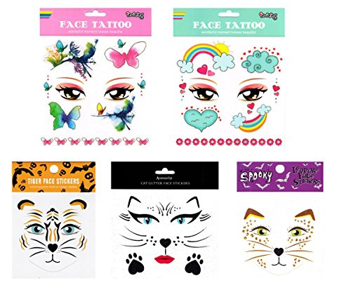 GGSELL GGSELL tattoo 6pcs mixes kids animal face temporary tattoos in one packages,including rainbow,clould,butterflies,flowers,tiger face tattoos -